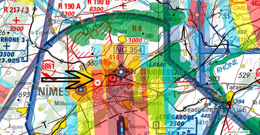 Carte de l'espace aérien des arènes de Nimes