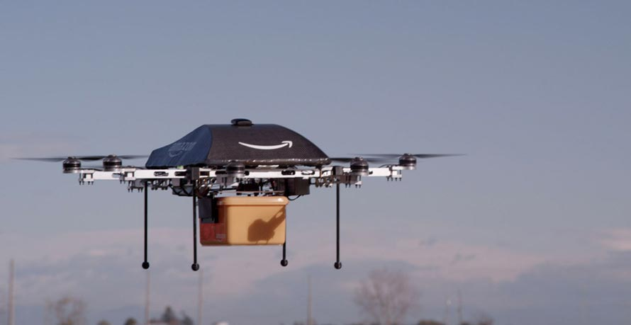Drone Amazon Prime Air en vol